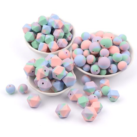 LOFCA10pcs 14mm Mini Hexagon silicone beads Baby Teether BPA Free DIY Necklace Pacifier Chain Baby Teething 2