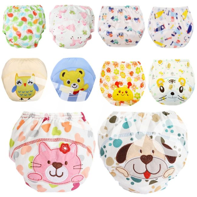 Washable Baby Diapers Reusable Cloth Nappies Waterproof Newborn Cotton Diaper Cover For Children Training Pants Potty