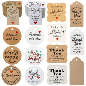 300Pcs Kraft brown white Gift Tags Thank You paper tags for Wedding decoration baby shower Christmas