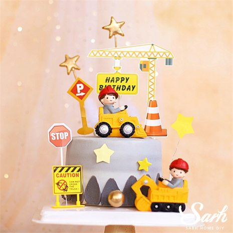 Engineering Construction Vehicle Decoration Traffic Sign Star Cake Topper for Birthday Party Baby Shower Baking Supplies 1