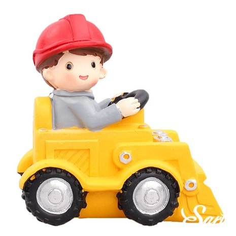Engineering Construction Vehicle Decoration Traffic Sign Star Cake Topper for Birthday Party Baby Shower Baking Supplies 4