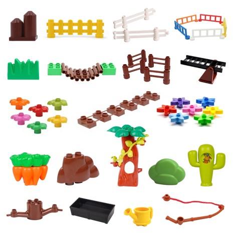 Fence Ladder Bridge Model Big Building Blocks Accessories Tree Flowers Toys For Children Compatible Big Size