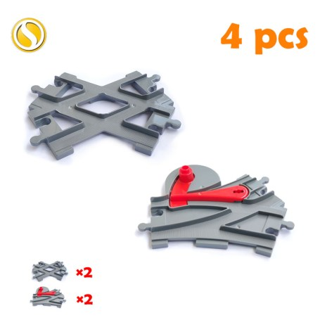 Railway Transport Assemble Big Building Blocks Track Set Compatible Toy Bricks Train Home Interactive Toys For 5