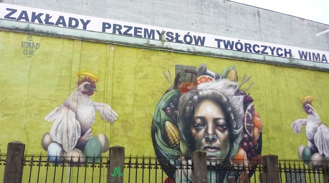 Mural bogini Mokosz na ścianie fabryki WI-MA w Łodzi