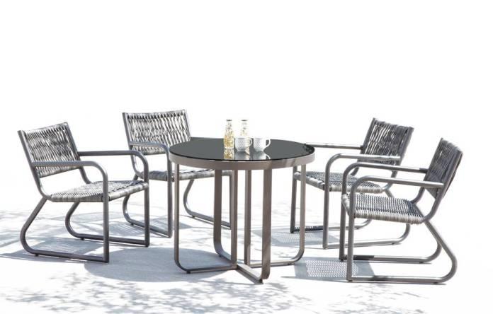 Haiti Modern Outdoor Arm Chair Dining Set For 4 Outdoor Dining Table All Weather Outdoor Furniture Babmar Com