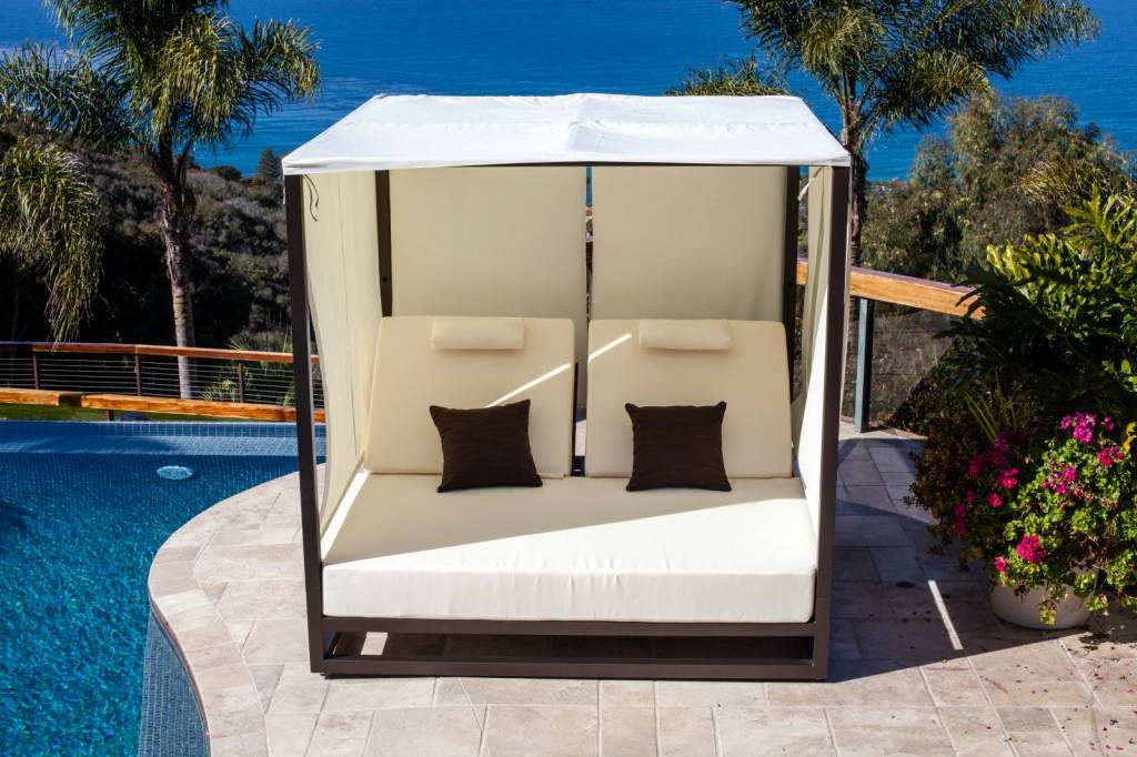 Riviera Modern Outdoor Leisure Daybed with Canopy on Belham Living Lilianna Outdoor Daybed id=69810