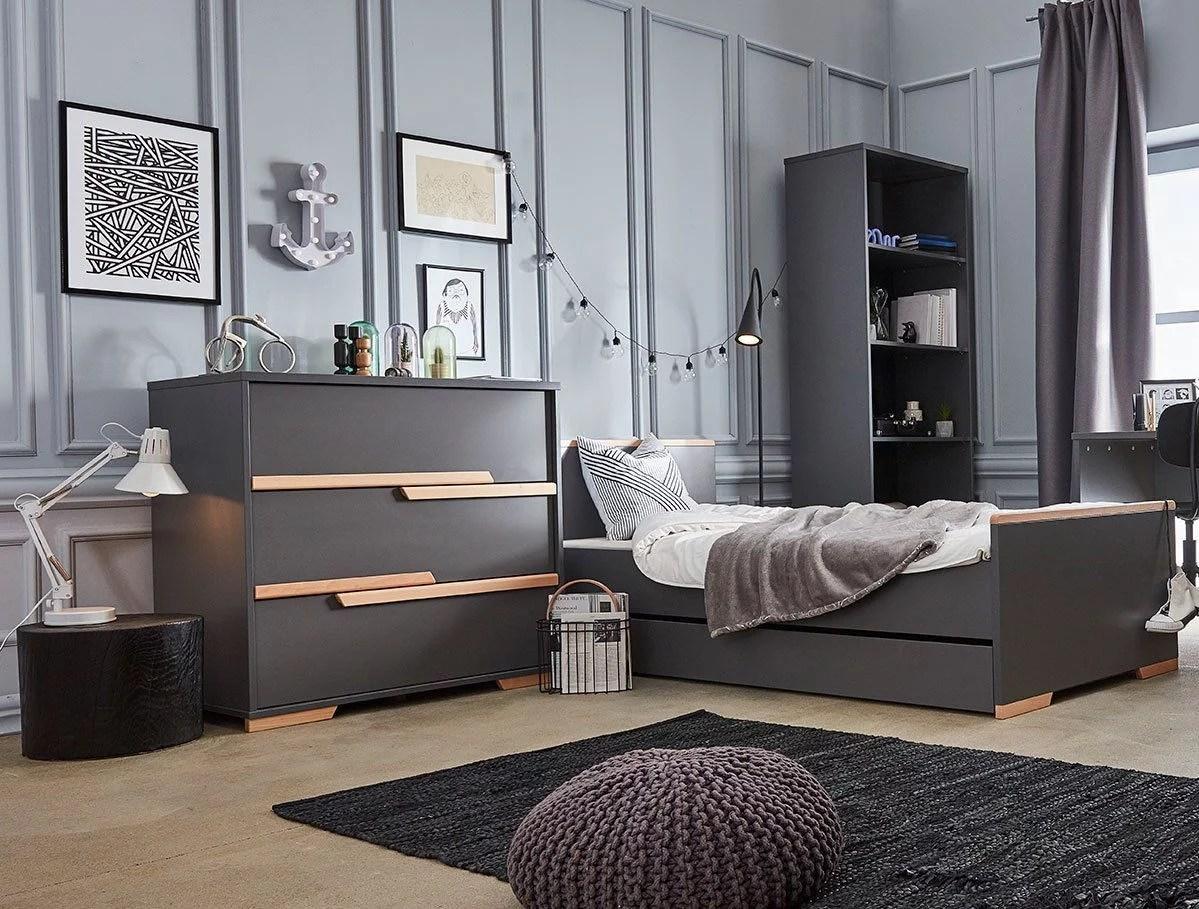 pinio snap gris 5 meubles lit 200x90 commode armoire 3 portes grande bibliotheque etagere murale