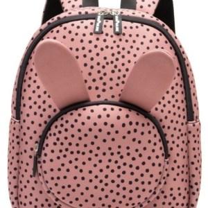kinderrugtas / rugzak / schooltas - meisje - neopreen - bunny / konijn - warmpink dots / roze met zwarte stippen - 36 cm