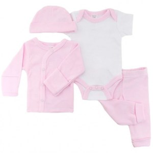Soft Touch babykleding set meisjes katoen roze 4-delig mt 50/56