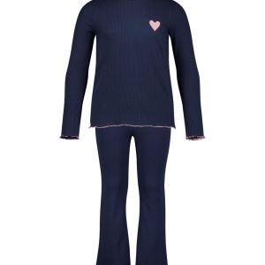 HEMA Kinderpyjama Rib Flared Donkerblauw (donkerblauw)