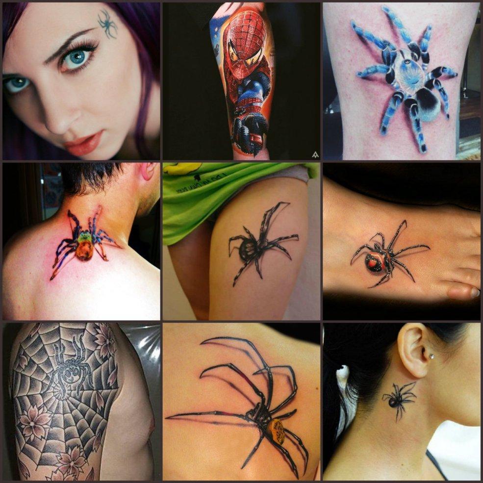 татуировка паук эскизы и значение для мужчин и для девушек что