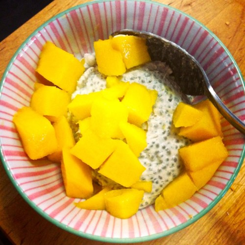 mango with coconut chia pudding