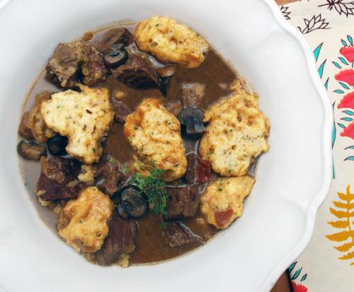 beer braised pot roast with herb dumplings