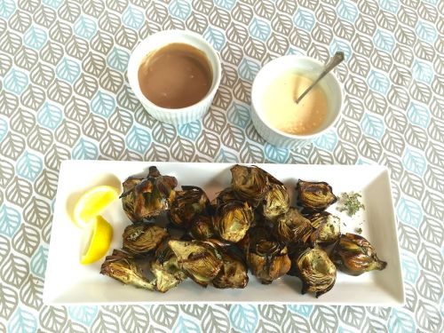 grilled baby artichokes with hollandaise and balsamic yogurt sauce