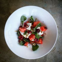 watermelon, burrata, cherries and hazelnuts