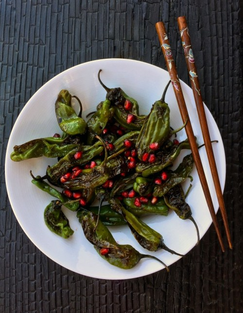 Shishito Peppers with Pomegranate Ponzu