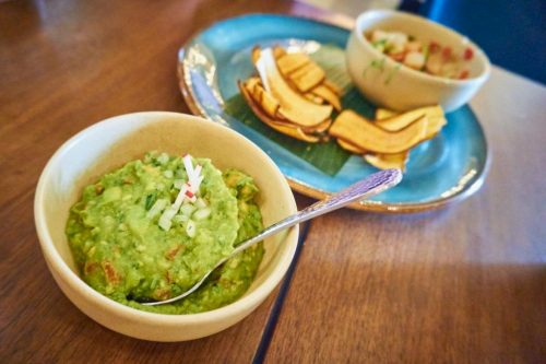 Red O Restaurant - Guacamole, plantain chips and shrimp ceviche