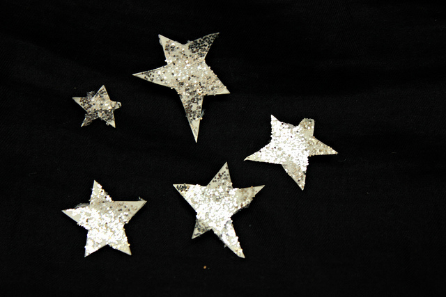 sparkly star, silver star, starry night