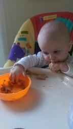 Aiden eating pasta
