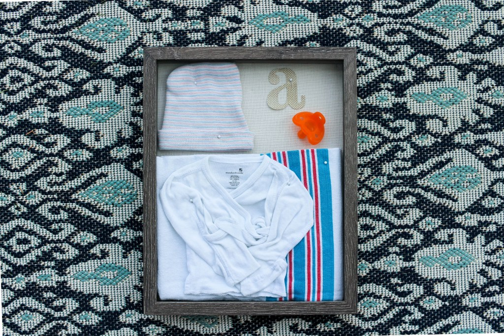 Easy DIY Shadowbox of Baby's First Hospital Items