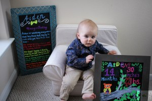 Aiden turned 14 months today. This is an update of everything that happened during month 13 from changes in play to eating to getting his first tooth.