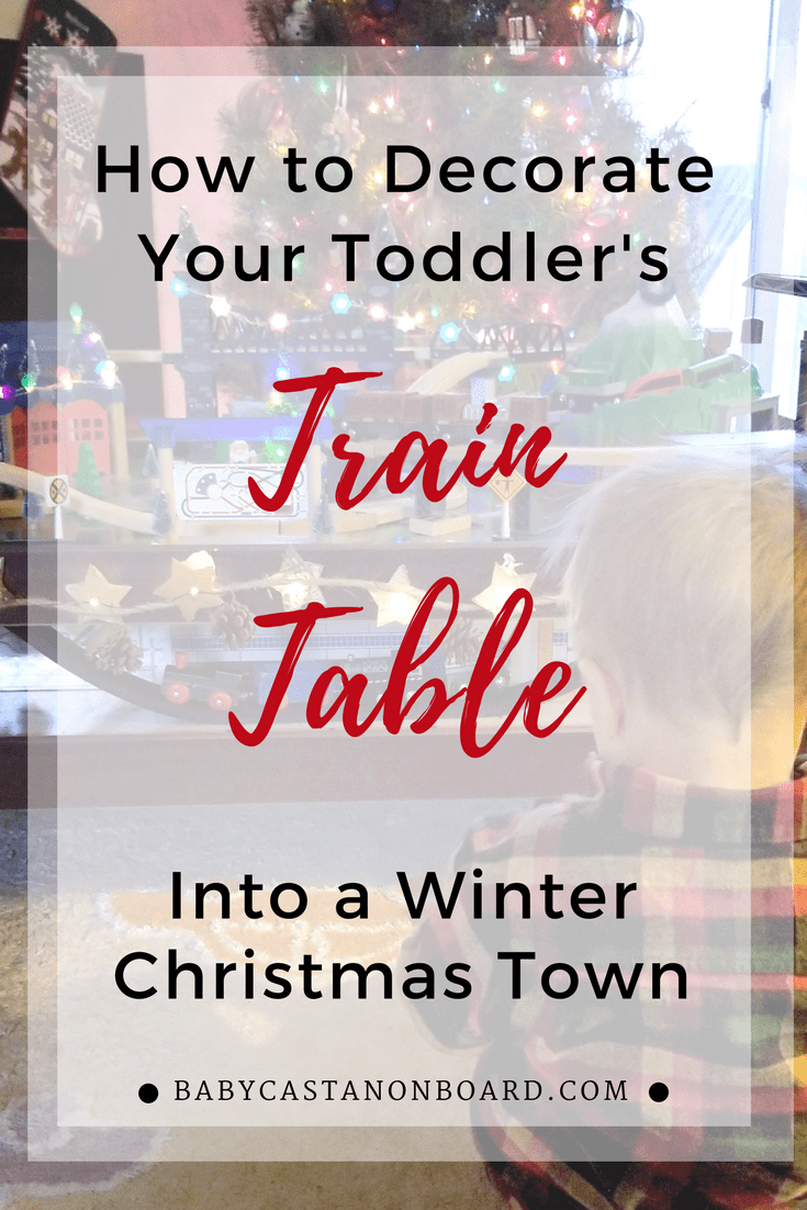 I decided to use our toddler's train table as part of our holiday decor. I had a ton of fun with this Christmas train decoration. #toddler train table, small space decorating tips, holiday decorating tips