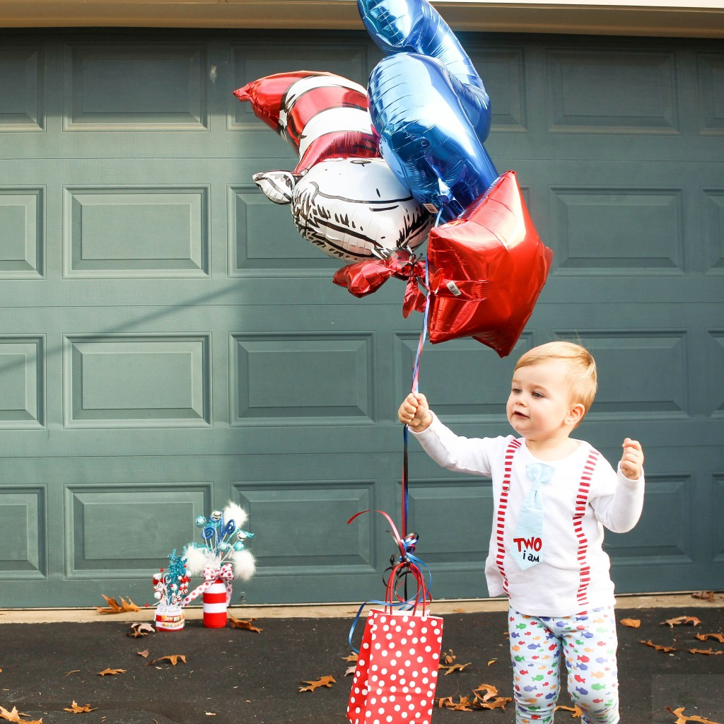 Dr. Seuss Themed Birthday-two-year-old-with-balloons-DC-Motherhood Blog