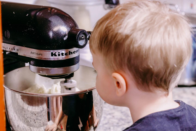 Toddler Cooking Shepherd's Pie_toddler looking in standing mixer