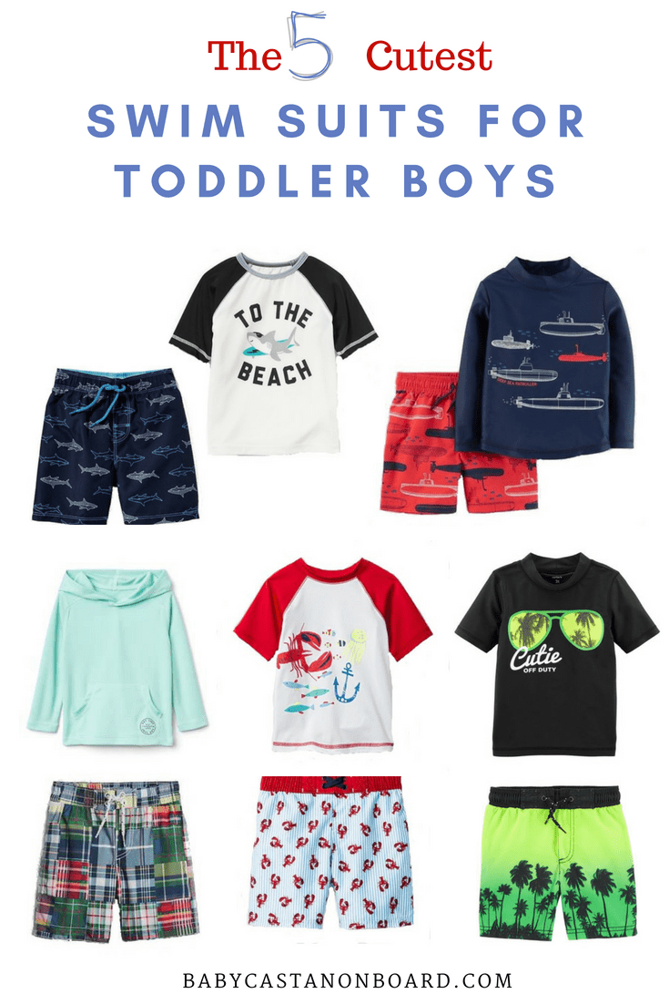 A round-up of the five cutest swimsuits for summer by popular DC mommy blogger Baby Castan on Board - The 5 Cutest Toddler Boy Swimsuits for Summer by popular DC mommy blogger, Baby Castan On Board