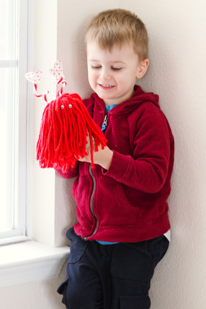 Heart crafts for toddlers_toddler with love monster