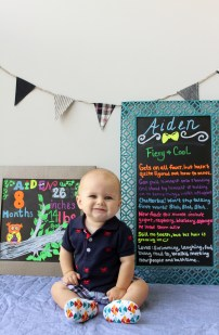 Aiden with eight month board