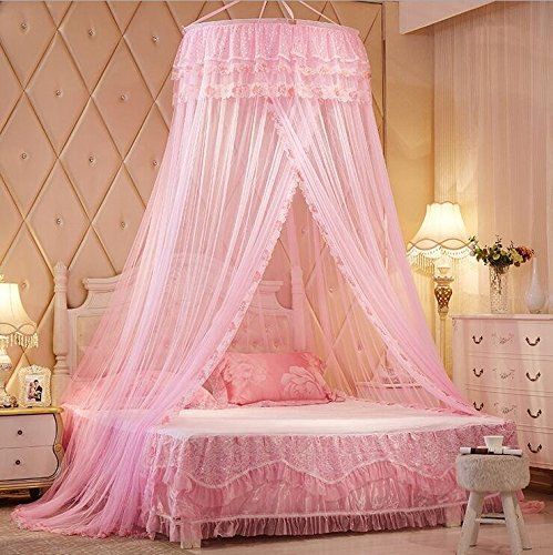 pink princess lace bed canopies mosquito neting for Pink Canopy For Twin Bed id=12799
