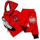 Hoodie and Pants Superhero Set (1-2 Years, Spiderman Red)
