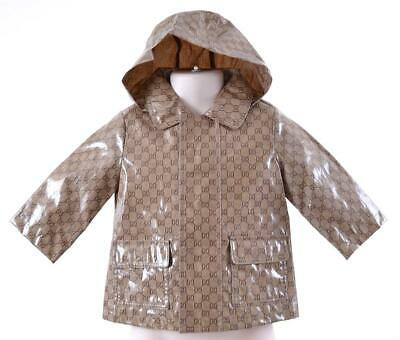 New Gucci 268812 Baby Children's Unisex Gg Guccissima Hood Rain Jacket~3-6 Month