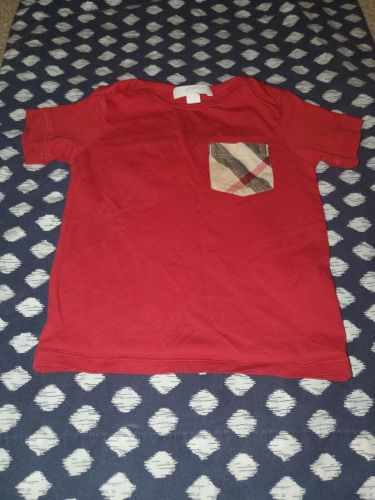 Authentic Baby Boy Red Burberry Shirt Size 18 Months