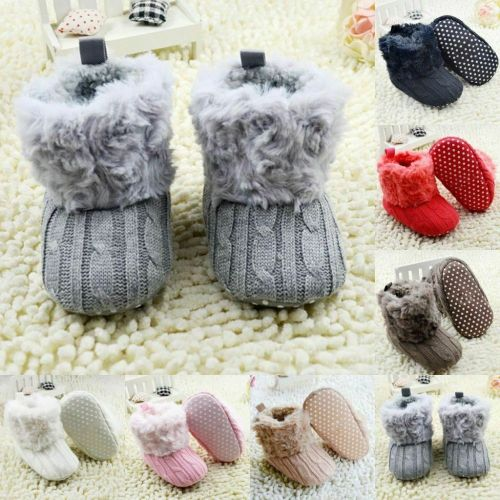 Newborn Baby Girl Winter Cotton Knit Fleece Snow Boots Warm Fur Soft Crib Shoes