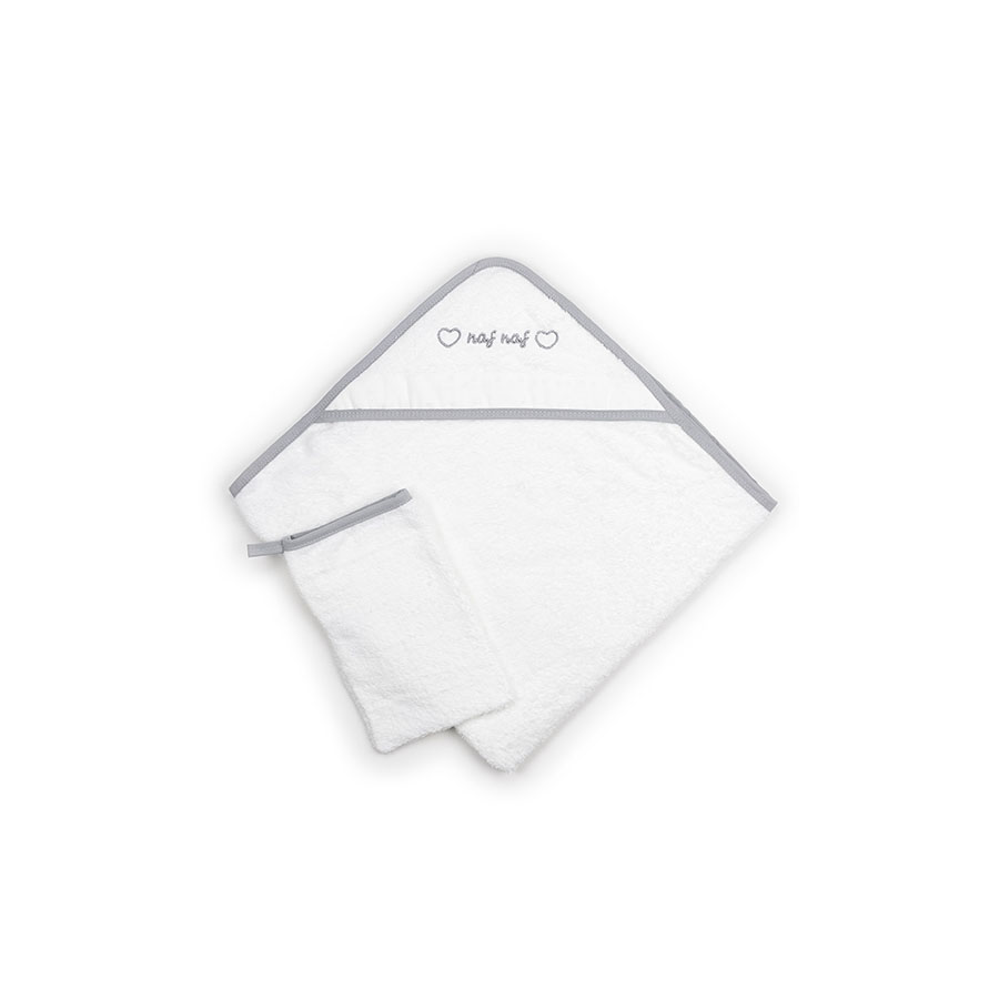 Sortie de bain 100% Cotton Brodée Très Chic Gris