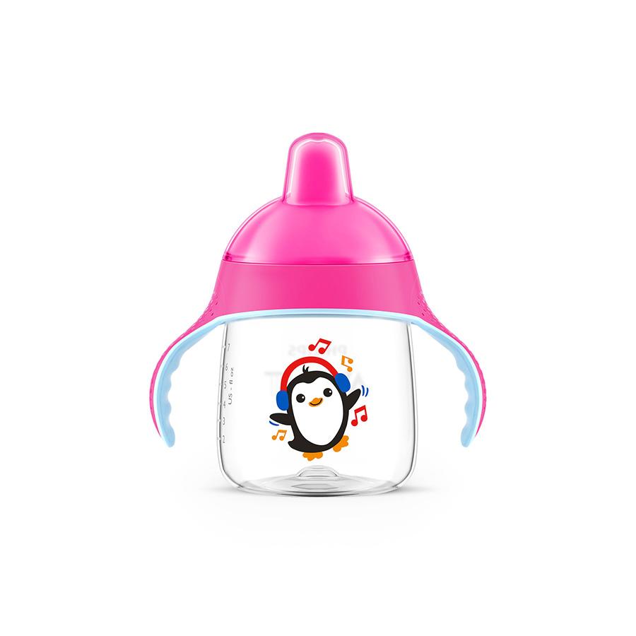 Tasse pingouin avec anses roses anti derapante 260 ml 12 mois+