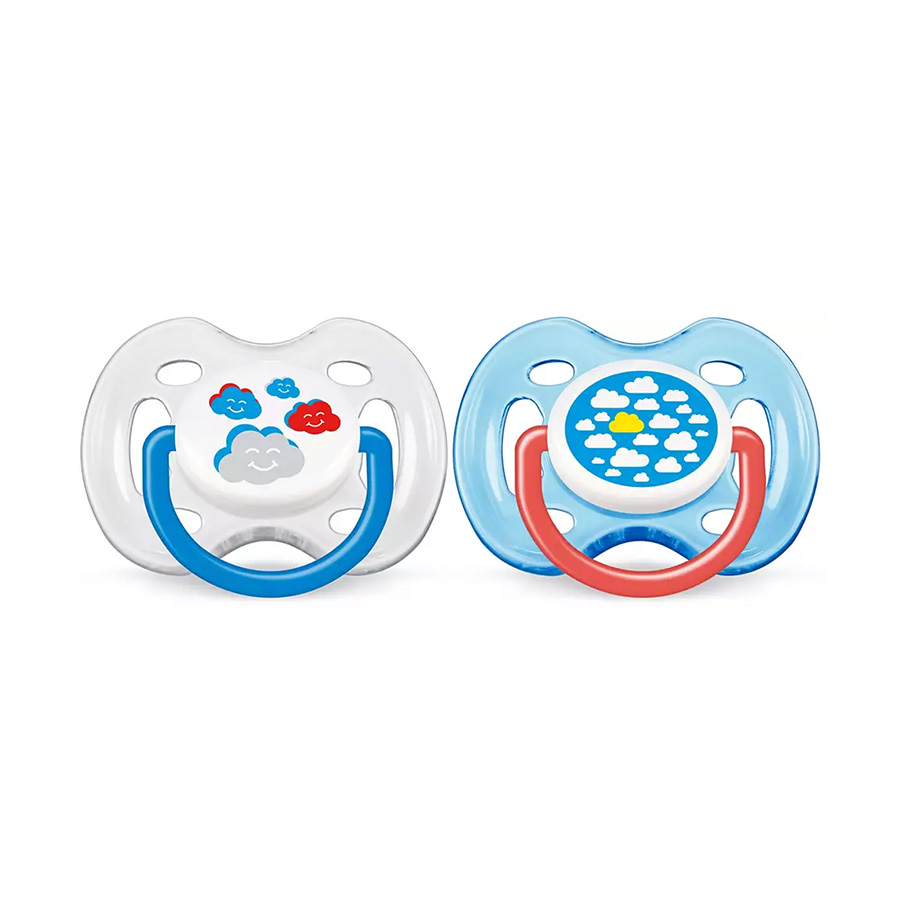Lot de 2 sucettes orthodontique aérées fille / garcon  0-6 mois