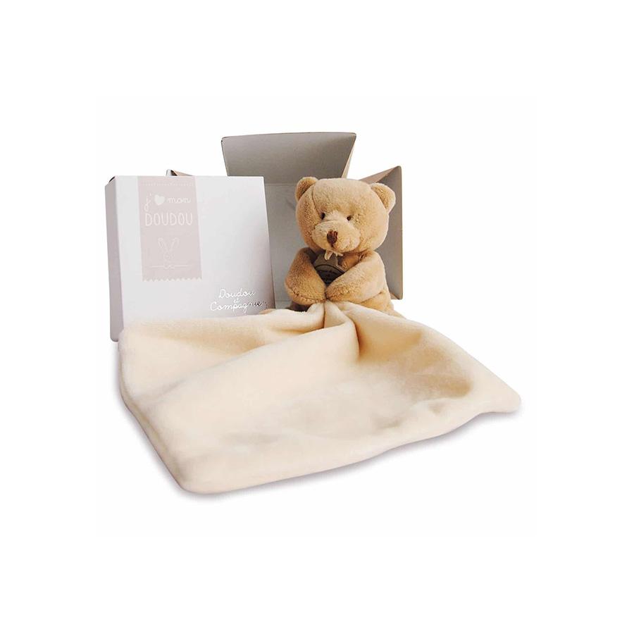 Ours mouchoir en boite fleur – 10 cm