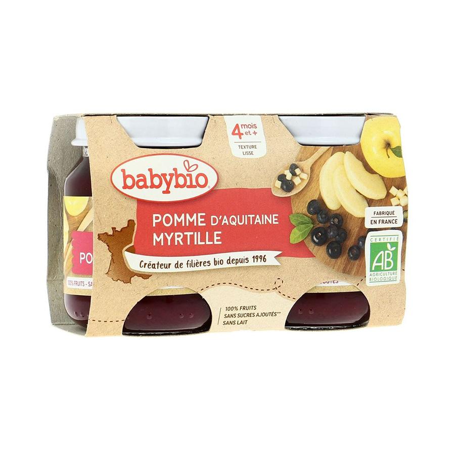 Babybio – Pot pomme de nouvelle aquitaine & myrtille 4M 2*130g