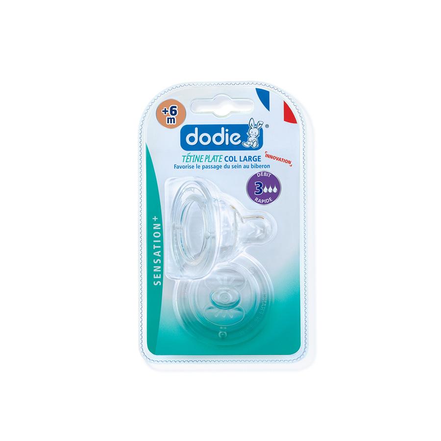 Dodie – Tétine sensation+ plate anti-colique débit 3+6m – x2