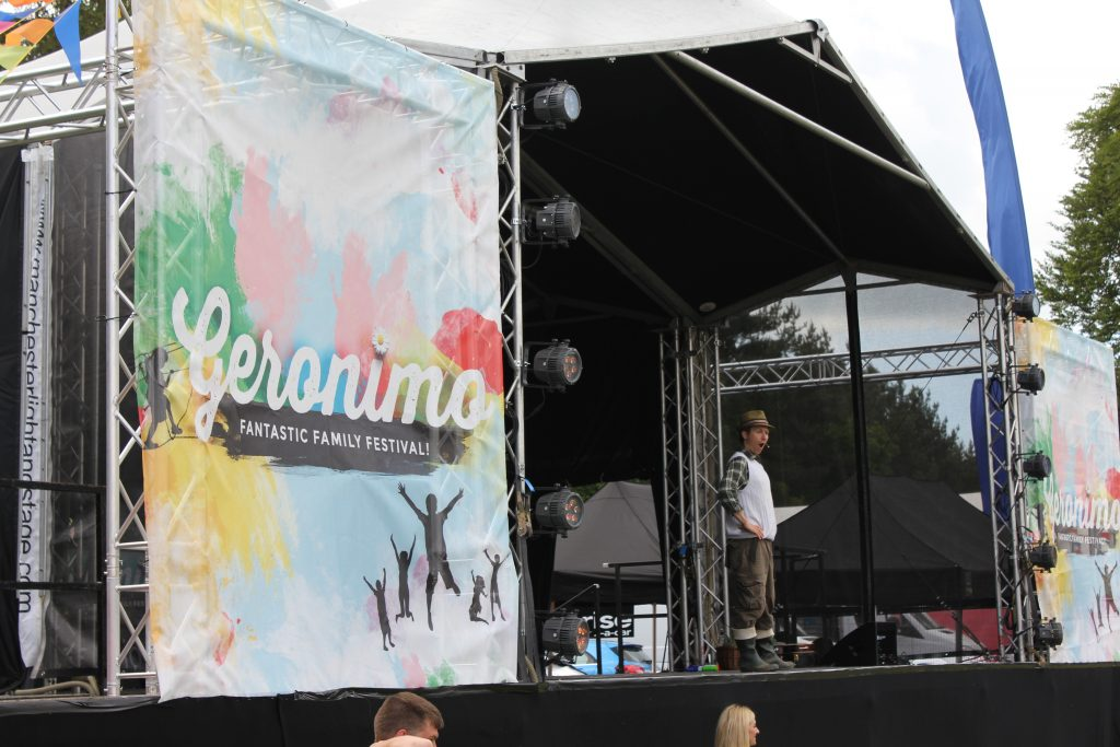 mr bloom on the geronostage at geronimo 2016 children festival at tatton park