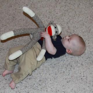 A boy & his sock monkey