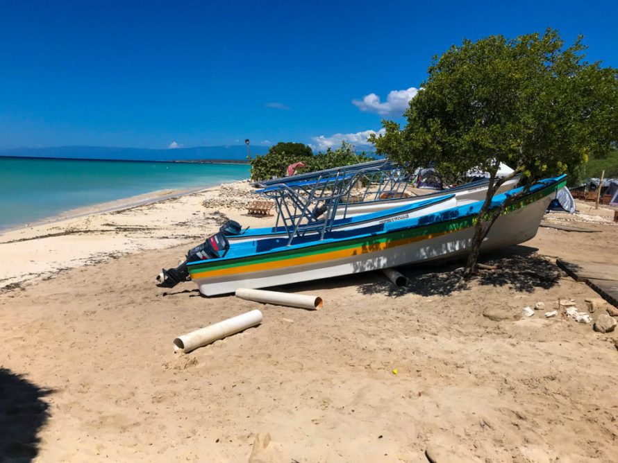 boats on the beach in Pedernales, Dominican Republic
