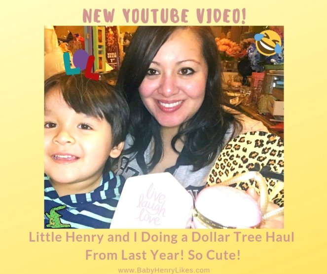 New YouTube Video! Little Henry and I Doing a Dollar Tree Haul From Last Year! So Cute! - Baby Henry Likes - www.BabyHenryLikes.com
