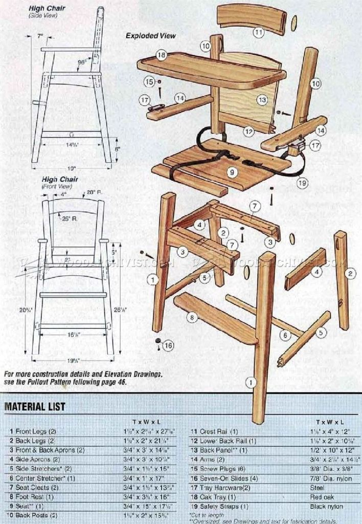 Wood Chair Plans Free ~ Diy wooden high chairs plans free download updated
