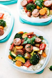One Pan Healthy Italian Sausage & Veggies put into meal prep containers