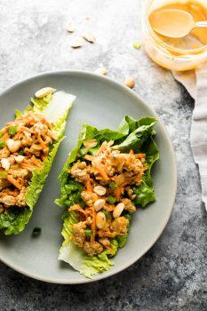 thai turkey lettuce wraps recipe on plate