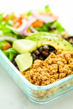 Tofu Burrito Bowl Meal Prep – Easy and FAST meal prep recipe using tofu. This is one of my favorites to pack for lunch. Cheap meal prep!